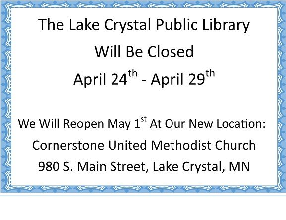 Lake Crystal Library Closed